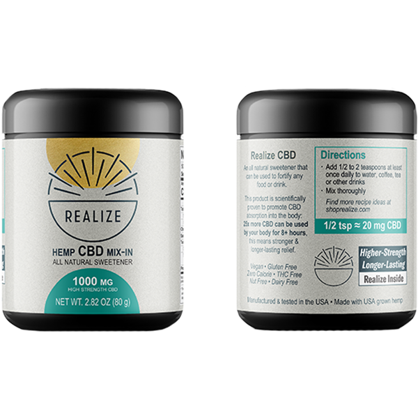 Realize Mix-In jar front and side