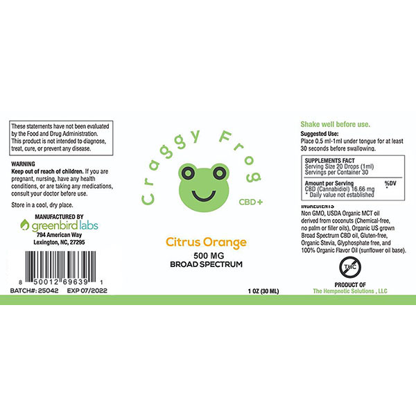 Craggy Frog 500mg label