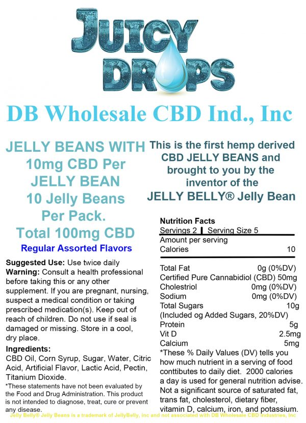 Juicy Drops Jelly Beans Regular 10 pack Label