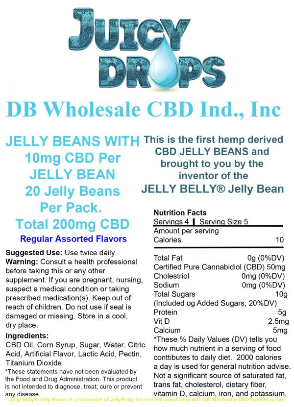 Juicy Drops Jelly Beans Regular 20 pack Label