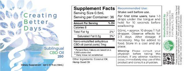Nano-CBD-Sublingual-Oil-250mg Label