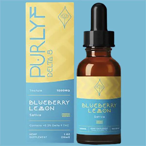 Purlyf Blueberry Lemon Delta 8 Tincture bottle and Box