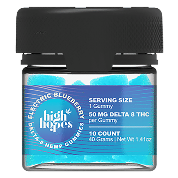 High Hopes Delta 8 Gummies Electric Blueberry 500mg